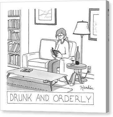 Wines Canvas Print - Drunk And Orderly -- A Woman Reads A Book by Charlie Hankin