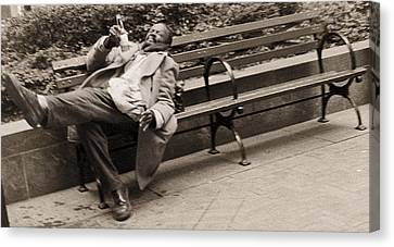 Drunk Man On A Park Bench, 2004 Bw Photo Canvas Print