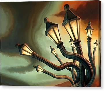 Drunk Streetlamps Canvas Print by Remus Brailoiu