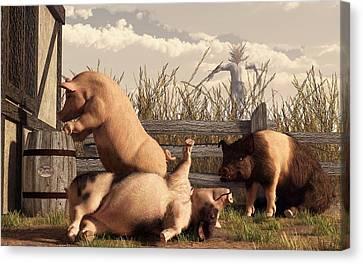 Drunken Pigs Canvas Print by Daniel Eskridge
