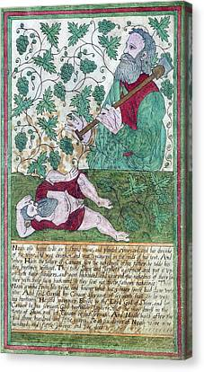 Drunkenness Of Noah Canvas Print by Folger Shakespeare Library