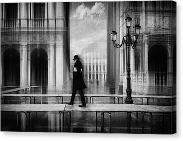 Lamp Post Canvas Print - Dry Footed Walk by Roswitha Schleicher-schwarz