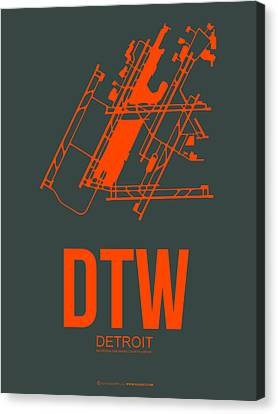 Dtw Detroit Airport Poster 3 Canvas Print by Naxart Studio