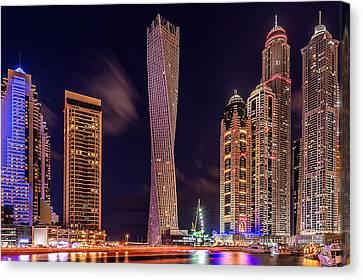 Dubai Marina Night Shot Canvas Print by Vinaya Mohan
