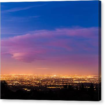 Dublin City At Dusk During Blue Hour Canvas Print