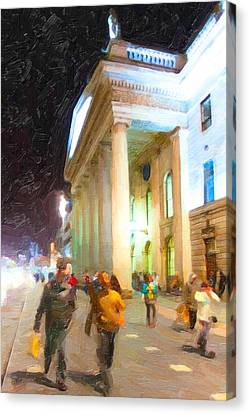 Dublin Ireland Post Office At Night Canvas Print by Mark E Tisdale