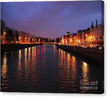 Canvas Print featuring the photograph Dublin Nights by Mary Carol Story