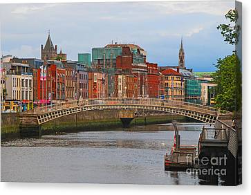 Dublin On The River Liffey Canvas Print by Mary Carol Story