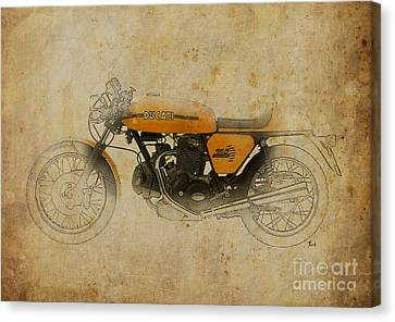 Ink Drawing Canvas Print - Ducati 750 Sport 1973 by Pablo Franchi