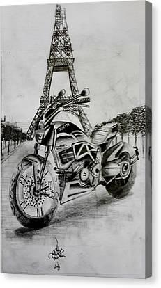 Ducati In Paris Canvas Print