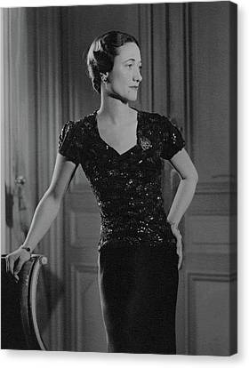 Duchess Of Windsor At Hotel Meurice Canvas Print by Horst P. Horst
