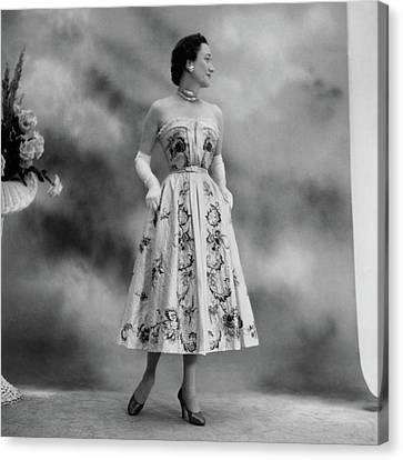 Duchess Of Windsor In A Dior Ball Gown Canvas Print by Cecil Beaton