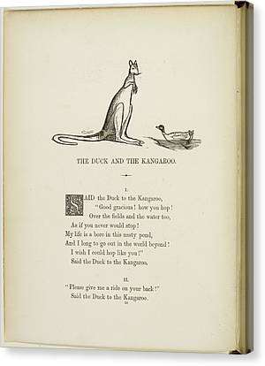 Duck And Kangaroo Canvas Print by British Library