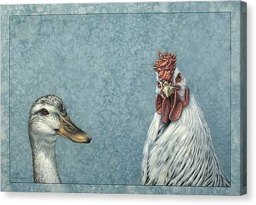 Duck Chicken Canvas Print by James W Johnson
