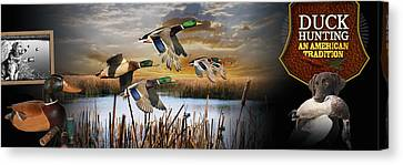 Multi Colored Canvas Print - Duck Hunting An American Tradition by Retro Images Archive