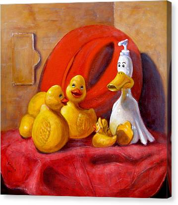 Duck Soap With Red Hat Canvas Print