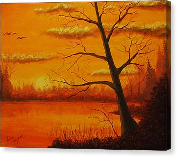 Canvas Print featuring the painting Duck Sunset by Dan Wagner