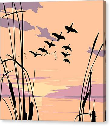 Ducks Flying Over The Lake Abstract Sunset - Square Format Canvas Print by Walt Curlee
