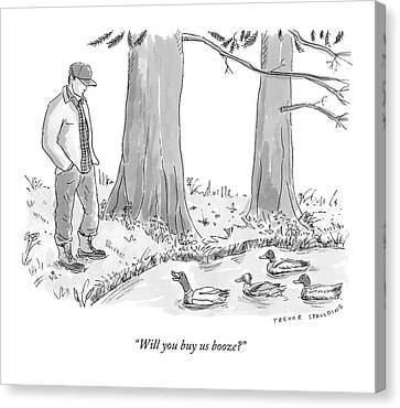 Ducks In A Pond Speak To A Man Canvas Print