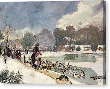 Ducks In The Bois De Boulogne Canvas Print by Emile Antoine Guillier