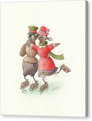 Ducks On Skates 01 Canvas Print