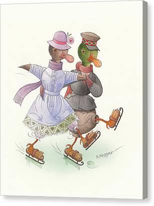 Ducks On Skates 10 Canvas Print
