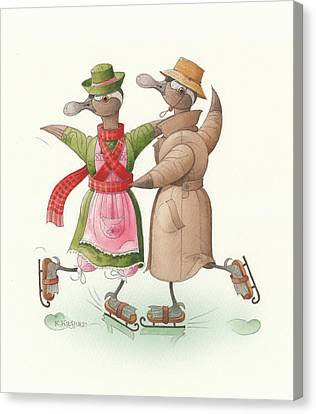 Ducks On Skates 11 Canvas Print
