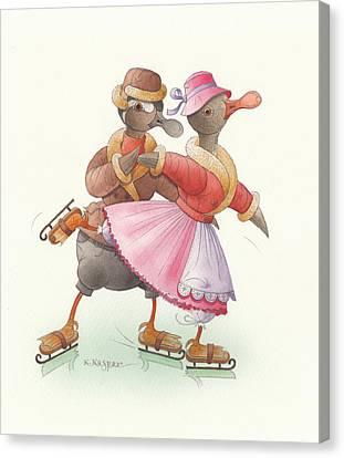 Ducks On Skates 12 Canvas Print