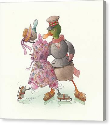Ducks On Skates 14 Canvas Print