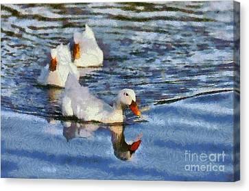 Lake Canvas Print - Painting Of Ducks by George Atsametakis