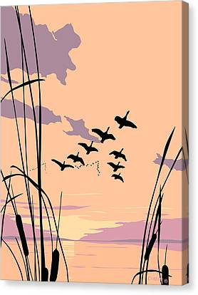 Abstract Ducks Sunset 1980s Acrylic Ducks Sunset Large 1980s Pop Art Nouveau Painting Retro      Canvas Print by Walt Curlee