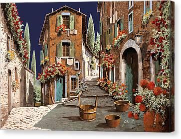 Due Strade Al Mattino Canvas Print by Guido Borelli