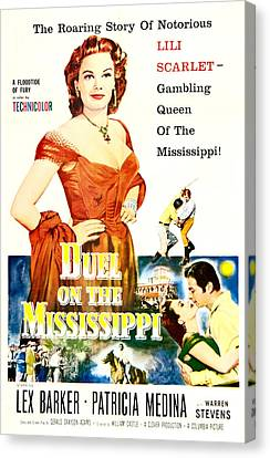 1950s Poster Art Canvas Print - Duel On The Mississippi, Us Poster by Everett