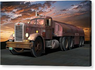 Duel Truck With Trailer Canvas Print by Stuart Swartz