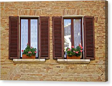Dueling Windows Of Tuscany Canvas Print