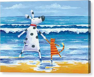 Duke And Sweetpea Love Paddling Canvas Print