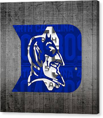 Duke Blue Devils College Sports Team Retro Vintage Recycled North Carolina License Plate Art Canvas Print by Design Turnpike