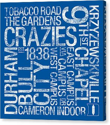 Duke College Colors Subway Art Canvas Print