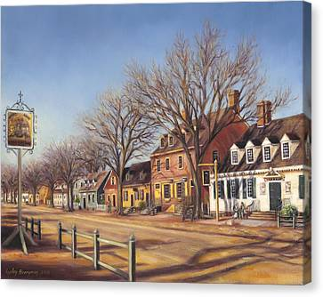 William And Mary Canvas Print - Duke Of Gloucester Street From King's Arms Tavern by Gulay Berryman