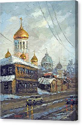 Canvas Print featuring the painting Dull Landscape by Dmitry Spiros