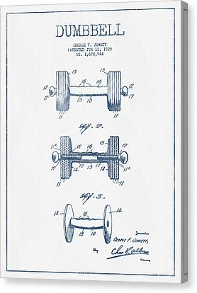 Dumbbell Patent Drawing From 1927  -  Blue Ink Canvas Print by Aged Pixel