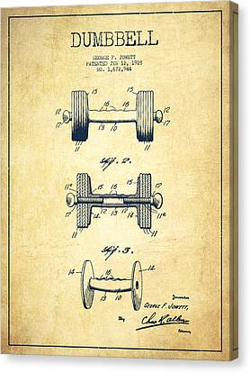 Dumbbell Patent Drawing From 1927 - Vintage Canvas Print by Aged Pixel