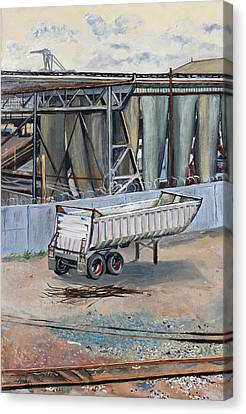 Canvas Print featuring the painting Dump Truck Bin And Steel Mill by Asha Carolyn Young