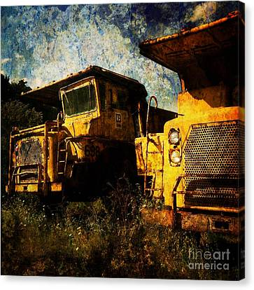 Dump Trucks Canvas Print by Amy Cicconi