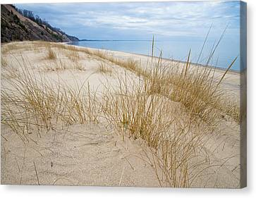 Canvas Print featuring the photograph Dune Grass On Lake Michigan by Mary Lee Dereske
