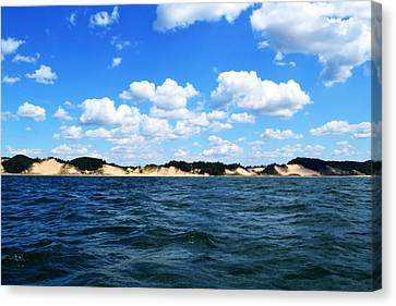 Dunes And Lake Michigan Canvas Print by Michelle Calkins