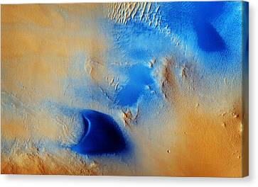 Dunes And Wind Streaks In Arabia Terra Canvas Print by Celestial Images