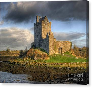 Green Fairy Canvas Print - Dunguaire Castle With Dramatic Sky Kinvara Galway Ireland by Juli Scalzi