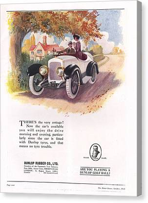 Dunlop 1919 1910s Uk Cars Tyres Canvas Print by The Advertising Archives