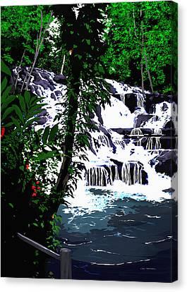 Dunns River Falls Jamaica Canvas Print by MOTORVATE STUDIO Colin Tresadern